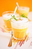 Pumpkin soup with milk froth