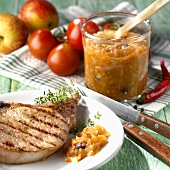 Grilled pork chop with apple chutney