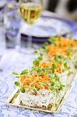 Sandwich 'cakes' with marigold petals