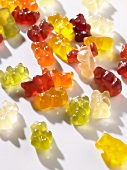 Coloured gummy bears with white background