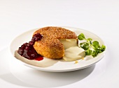 Fried Camembert with cranberries