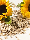 Sunflower seeds and two sunflowers
