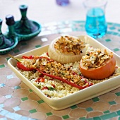 Stuffed vegetables on couscous