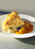 Bread pudding with apricot compote