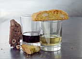 Saffron- and chocolate biscotti with two dessert wines