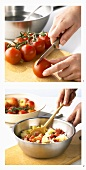 Making apple and tomato chutney