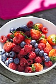 Mixed berries in a small bowl