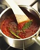 Tomato sauce in pan