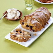 Apricot strudel with cherries