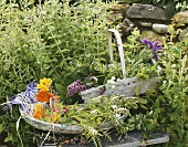 Two baskets of fresh mint and flowers
