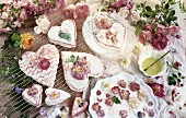 Heart-shaped cakes with rose decorations