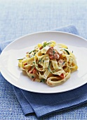 Fettucine with smoked trout and cream sauce