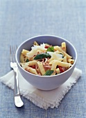 Penne with Parma ham and tomatoes