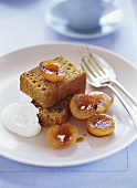 Ginger cake with glazed apricots