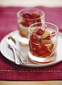 Rhubarb and apple compote with cinnamon cream