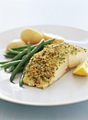 Baked barramundi fillet with lemon & parsley crust