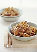 Asian wheat noodles with mushrooms