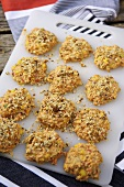 Uncooked crab and sweetcorn cakes with chili