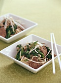 Beef, noodles and vegetables