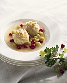 Quark dumplings with gooseberry compote