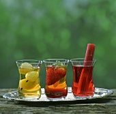 Three teas with fruit