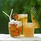 Three tropical tea drinks