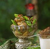 Warm potato salad with mangetout