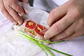 Making a Vietnamese spring roll