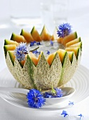 Spicy melon soup with cornflowers