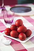 Eggs coloured red for Easter