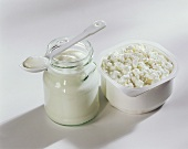 Natural yoghurt and cottage cheese