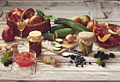 Still life with fresh & bottled fruit & vegetables