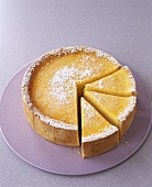 An orange and lime cheesecake, pieces cut