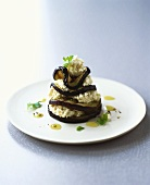 Grilled aubergine slices with haddock puree