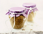 Two jars of mustard to give as a gift