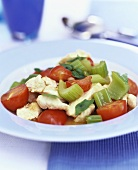 Strips of chicken breast with tomatoes and celery