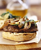 Steak ciabatta with caramelised onions