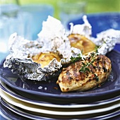 Grilled chicken with baked potatoes