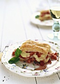 Puff pastry slice with strawberries & vanilla cream
