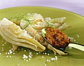 Fried fennel with pepper pesto