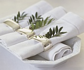Napkins with napkin rings & sprig of pistachio foliage