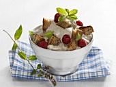 Schächental spiced whipped cream with raspberries & bread