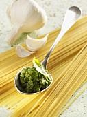 Pesto alla genovese on a spoon