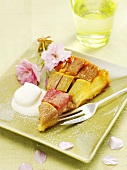 A piece of rhubarb tart