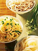 Three Asian noodle dishes