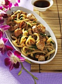 Chicken with oyster sauce and noodles