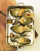 Artichokes with gratin topping