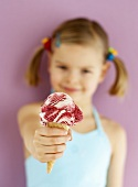 Small girl with Amarena cherry ice cream