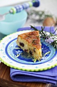 Ricotta cake with dried fruit and rosemary syrup