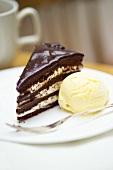 Chocolate mascarpone cake with vanilla ice cream